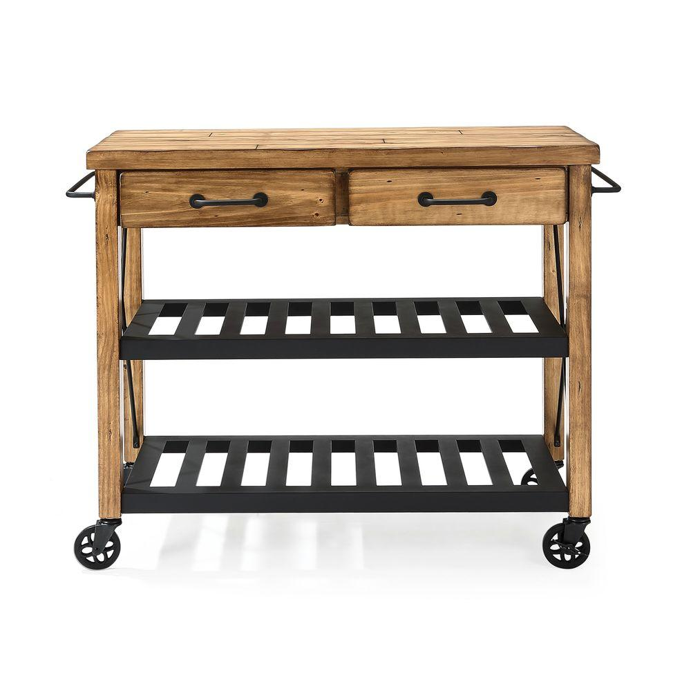 crosley roots rack industrial kitchen cart in natural