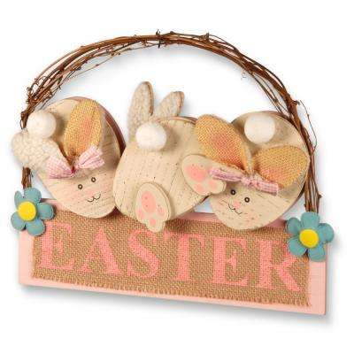 12 in. Easter Board with 3 Rabbits