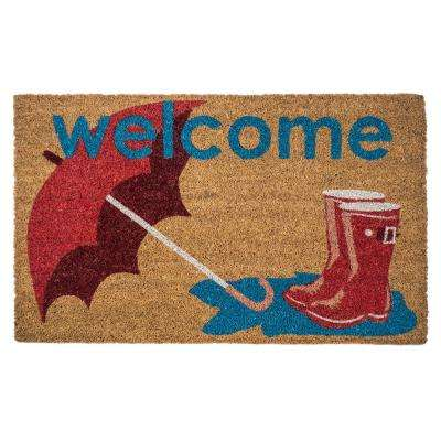 Boots and Umbrella 17 in. x 28 in. Non-Slip Coir Door Mat