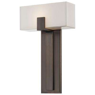1-Light Copper Bronze Patina Sconce with Mitered White Glass Shade