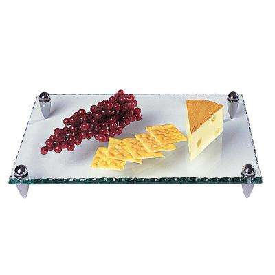 Mercury Rectangle 14 in. x 9 in. Glass Serving Tray with Hammered Edge