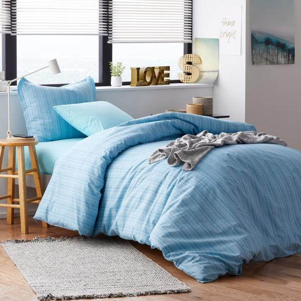 The Company Store Rylie Stripe 3-Piece 200-Thread Count Cotton Percale Full Duvet Cover Set in Blue