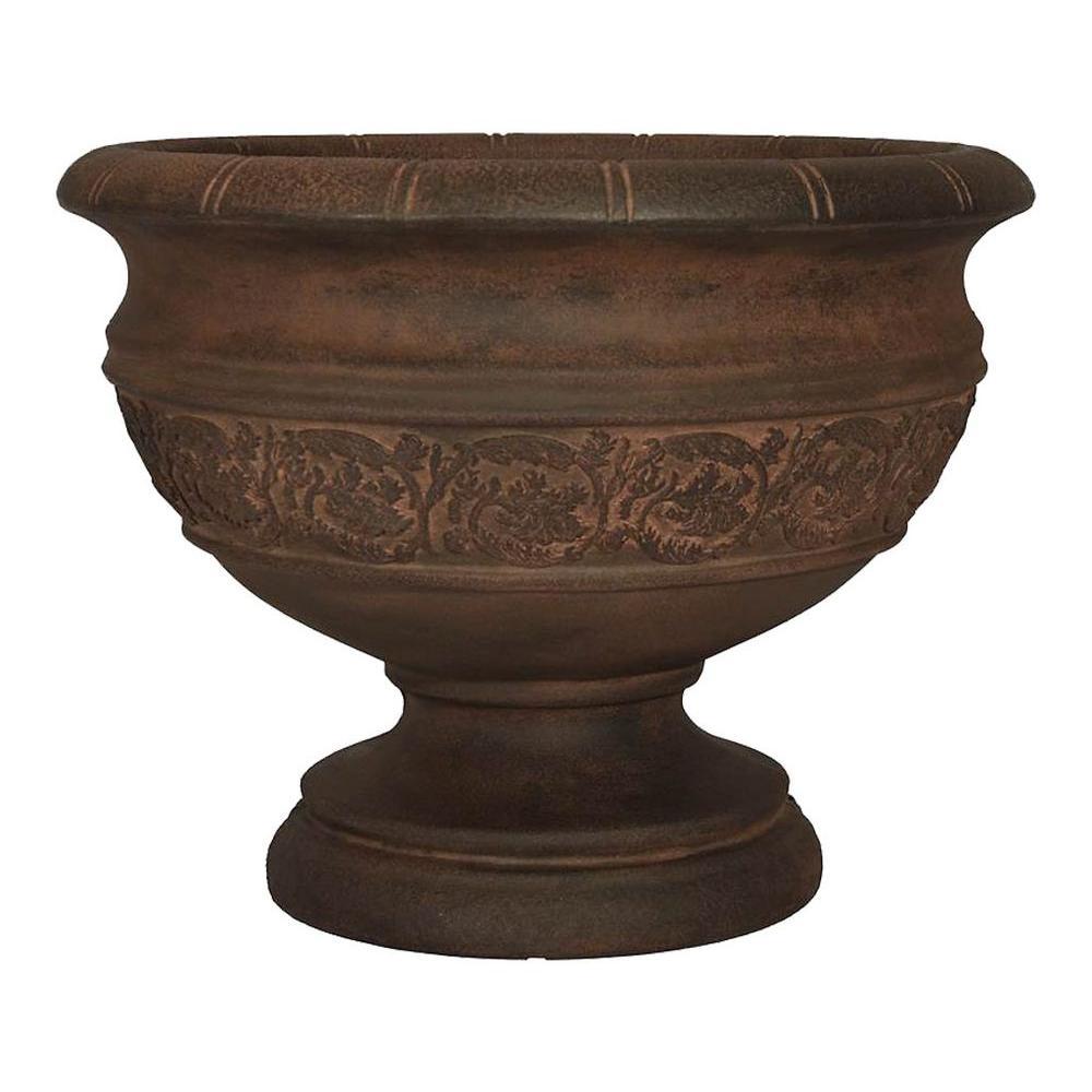 Planters Online 22 in. x 17-1/2 in. Resin Botticelli Urn in Rust