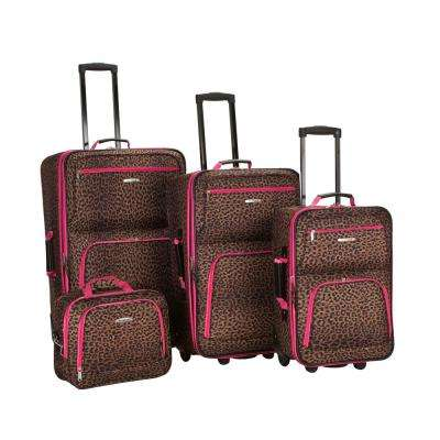 Rockland Expandable Jungle 4-Piece Softside Luggage Set, Pinkleopard