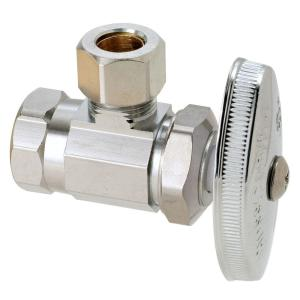 Brasscraft 3/8 inch FIP Inlet x 3/8 inch O.D. Compression Outlet Brass Multi-Turn Angle Valve (5-Pack) by BrassCraft