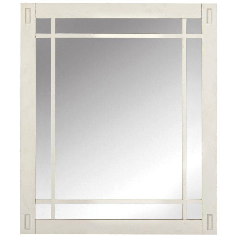 Artisan 26 in. W x 30 in. H Framed Single Wall Mirror in White