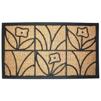 Light Daisy Natural 18 in. x 30 in. Coir and Rubber Door Mat