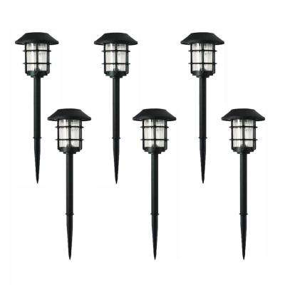 Solar Black Outdoor Integrated LED 3000K 10-Lumens Metal and Glass Landscape Pathway Light Set (6-Pack)