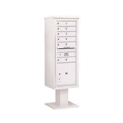 3400 Series 63-1/4 in. 13 Door High Unit White 4C Pedestal Mailbox with 6 MB1 Doors/1 PL5