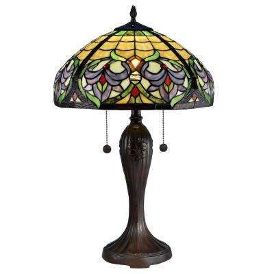 Enid Baroque 26 in. Antique Bronze Table Lamp with Hand Rolled Art Glass Shade