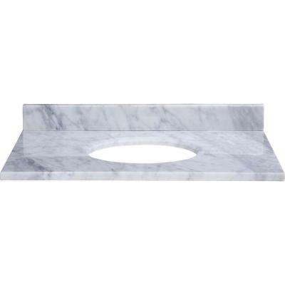31 in. Marble Vanity Top in Carrara White without Basin