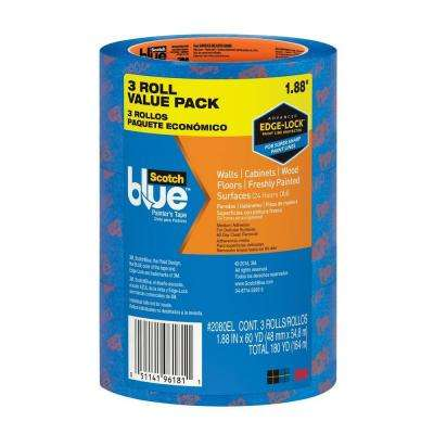 ScotchBlue 1.88 in. x 60 yds. Walls and Wood Floors Painter's Tape with Edge-Lock (3-Pack) (Case of 4)
