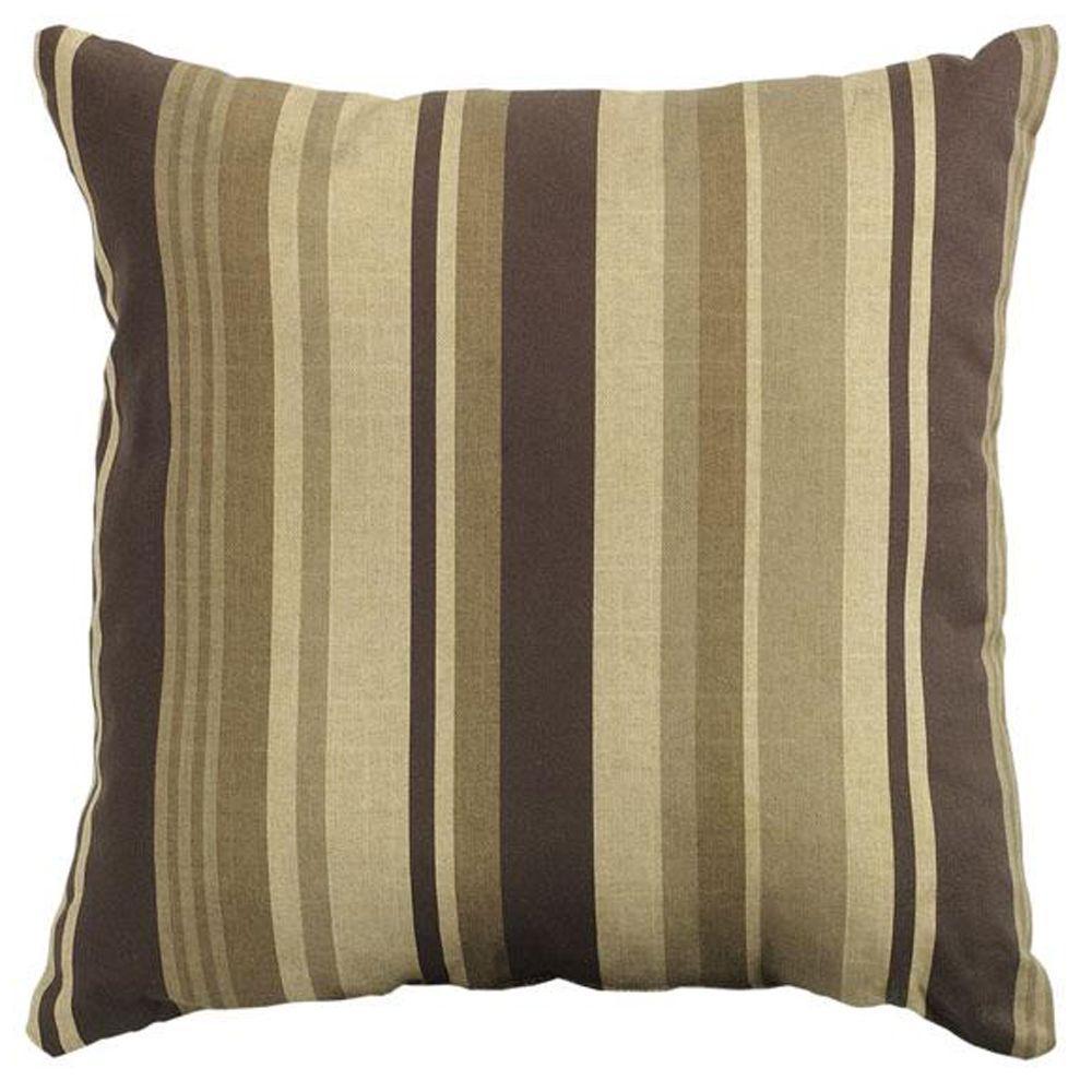 Breezeway Stripe Brown Square Outdoor Throw Pillow