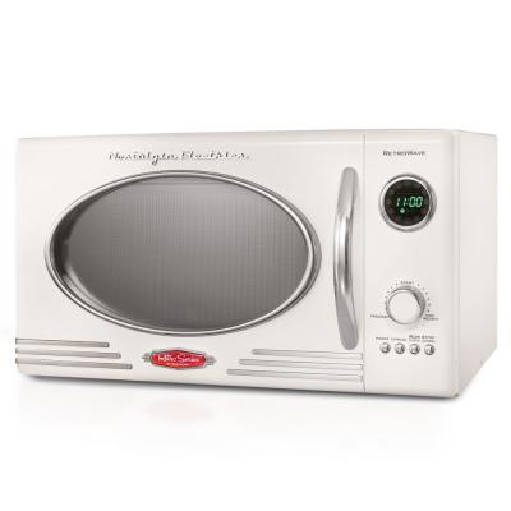 0.9 cu. ft. Retro Countertop Small Microwave in White