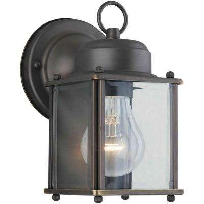 1-Light Outdoor Royal Bronze Wall Lantern with Clear Beveled Glass