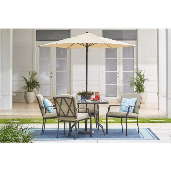 Hampton Bay Bradley 5 Piece Outdoor Dining Set With Oatmeal Cushion 5406 The Home Depot