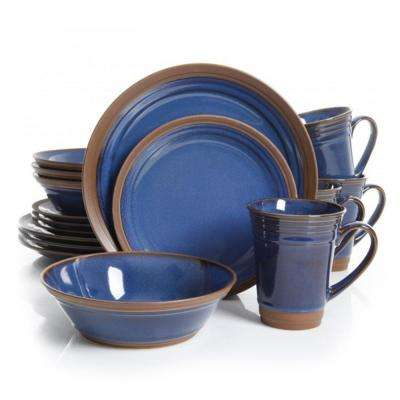 Brynn 16-Piece Blue Dinnerware Set
