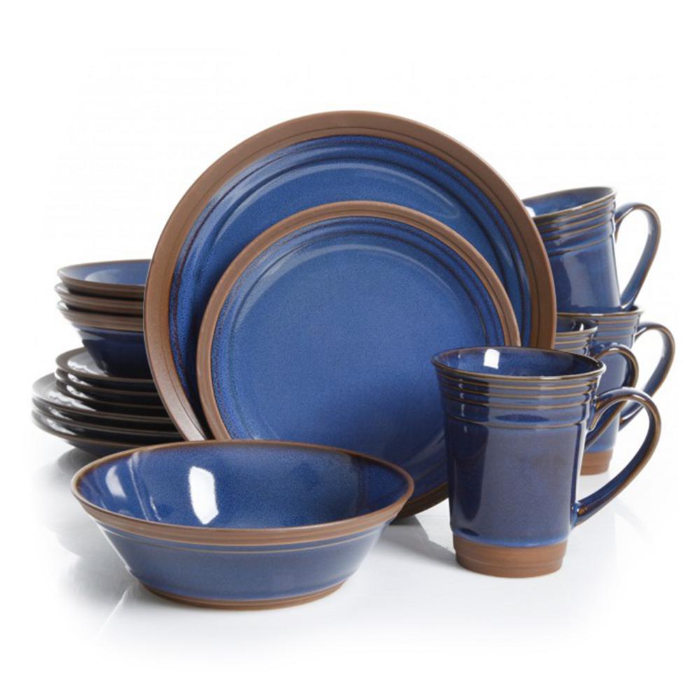GIBSON elite Brynn 16-Piece Blue Dinnerware Set 98597567M