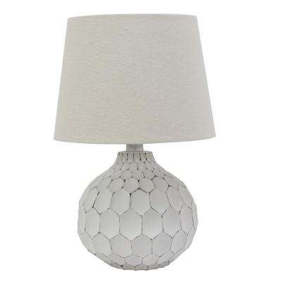 Bing Faceted 14.5 in. Distressed White Table Lamp with Linen Shade