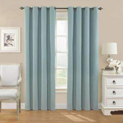 Nadya 108 in. L Poly/Cotton Curtain in Smokey Blue