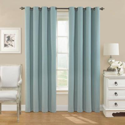 Nadya Solid Blackout Window Curtain Panel in Smokey Blue - 52 in. W x 95 in. L