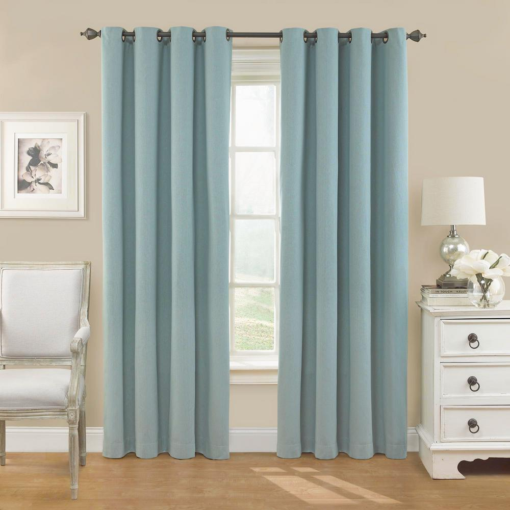 Nadya 63 in. L Poly/Cotton Curtain in Smokey Blue