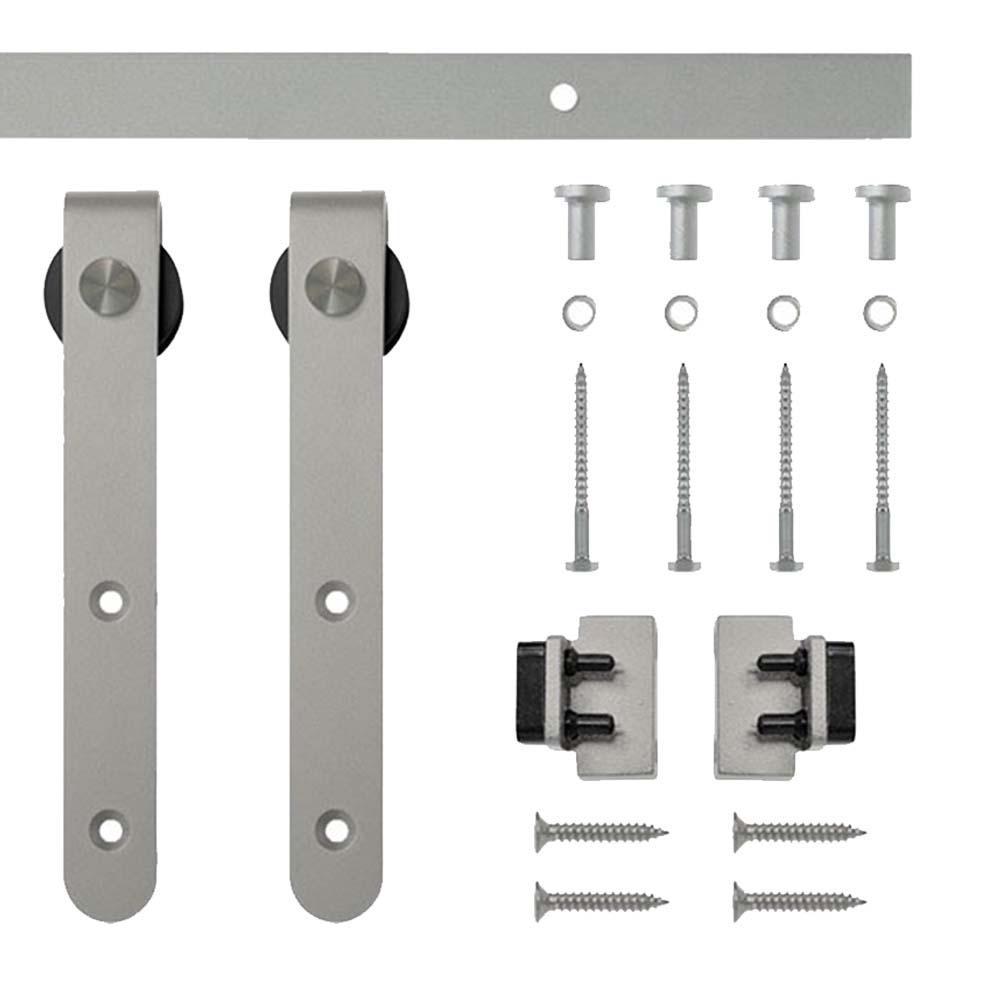 5 ft. Satin Nickel Round Hook Rolling Single Furniture Door Kit with Rail
