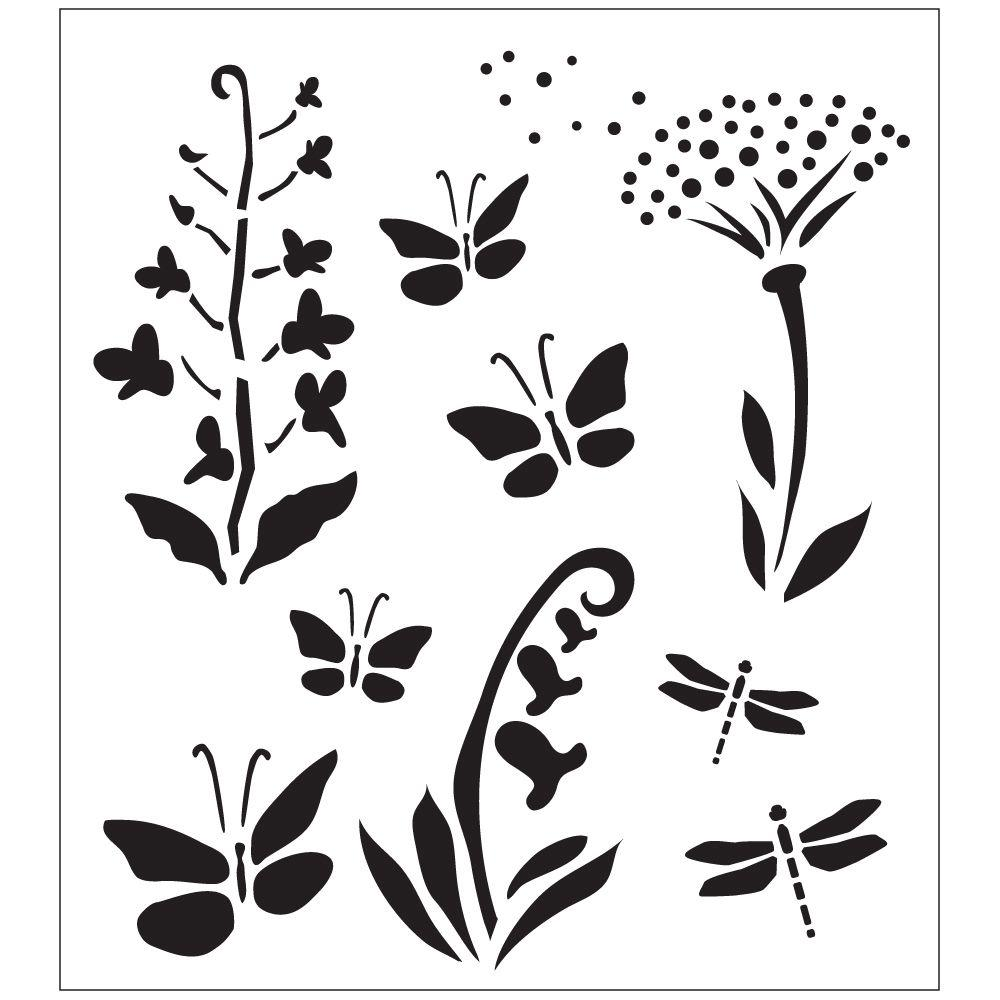 Wildflowers and Butterflies Painting Stencils
