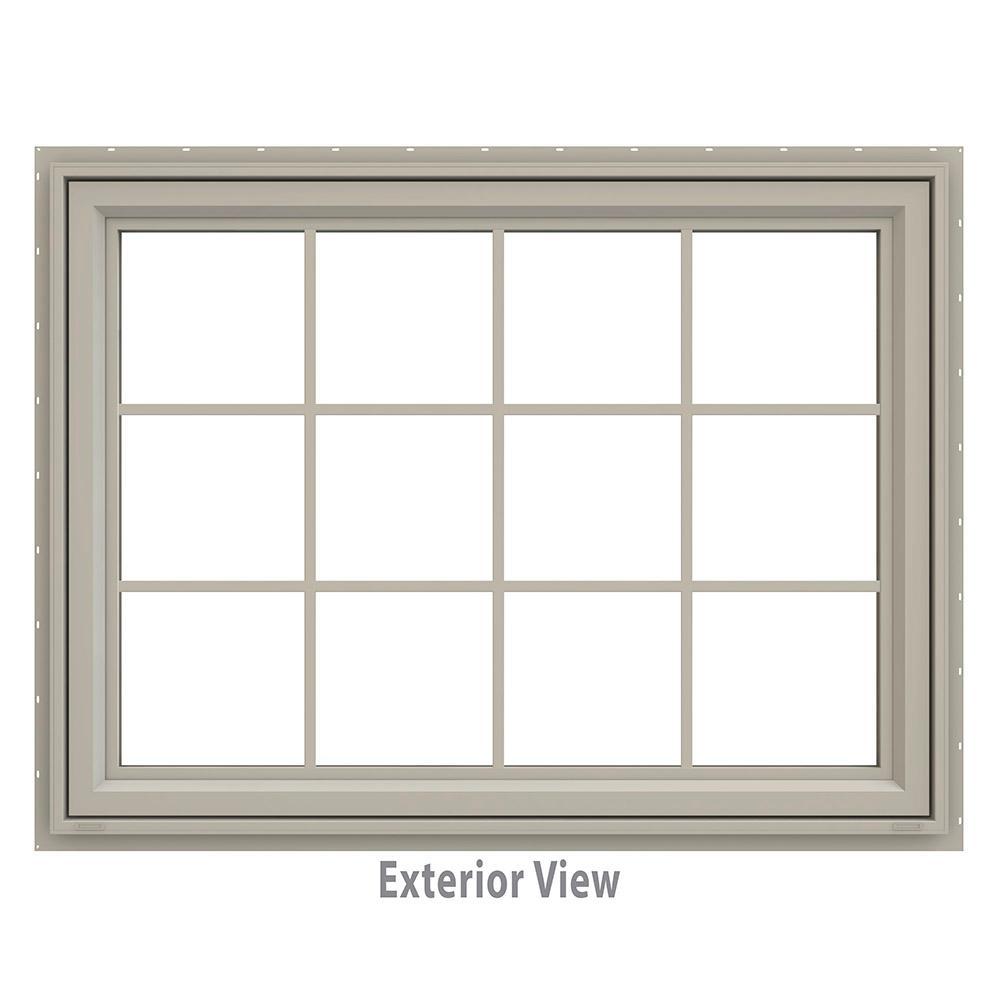 JELD-WEN 47.5 in. x 35.5 in. V-4500 Series Awning Vinyl Window with Grids - Tan