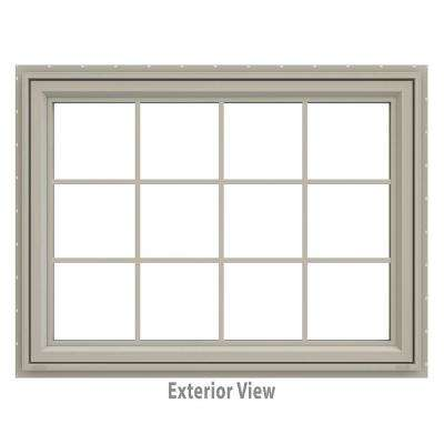 47.5 in. x 35.5 in. V-4500 Series Awning Vinyl Window with Grids - Tan