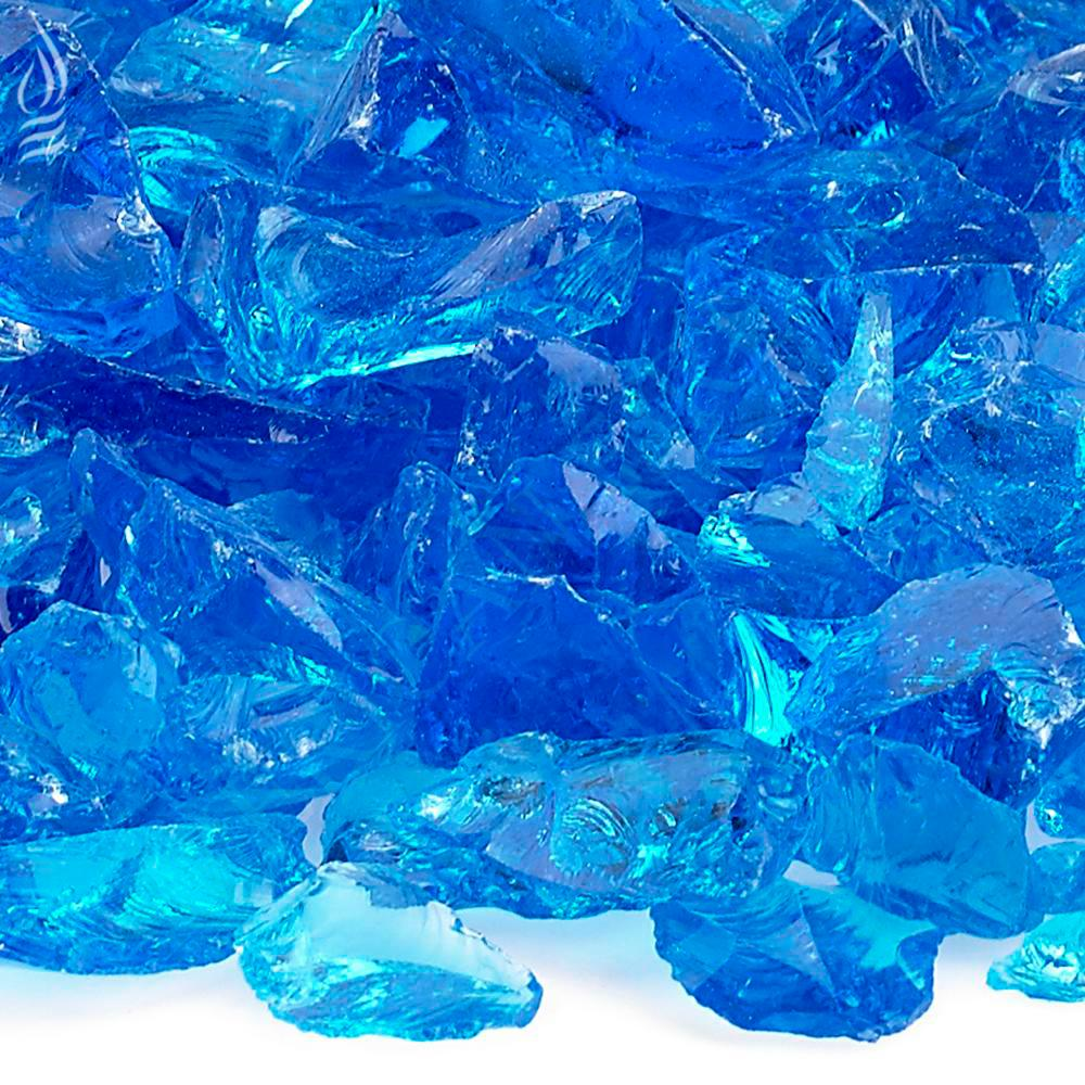American Fire Glass Turquoise Recycled Fire Pit Glass - Medium (18-28 mm) 10 lbs. Bag