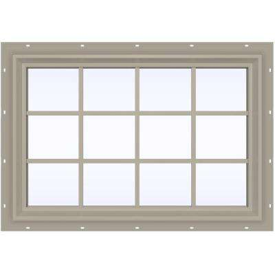 47.5 in. x 35.5 in. V-2500 Series Fixed Picture Vinyl Window with Grids - Tan