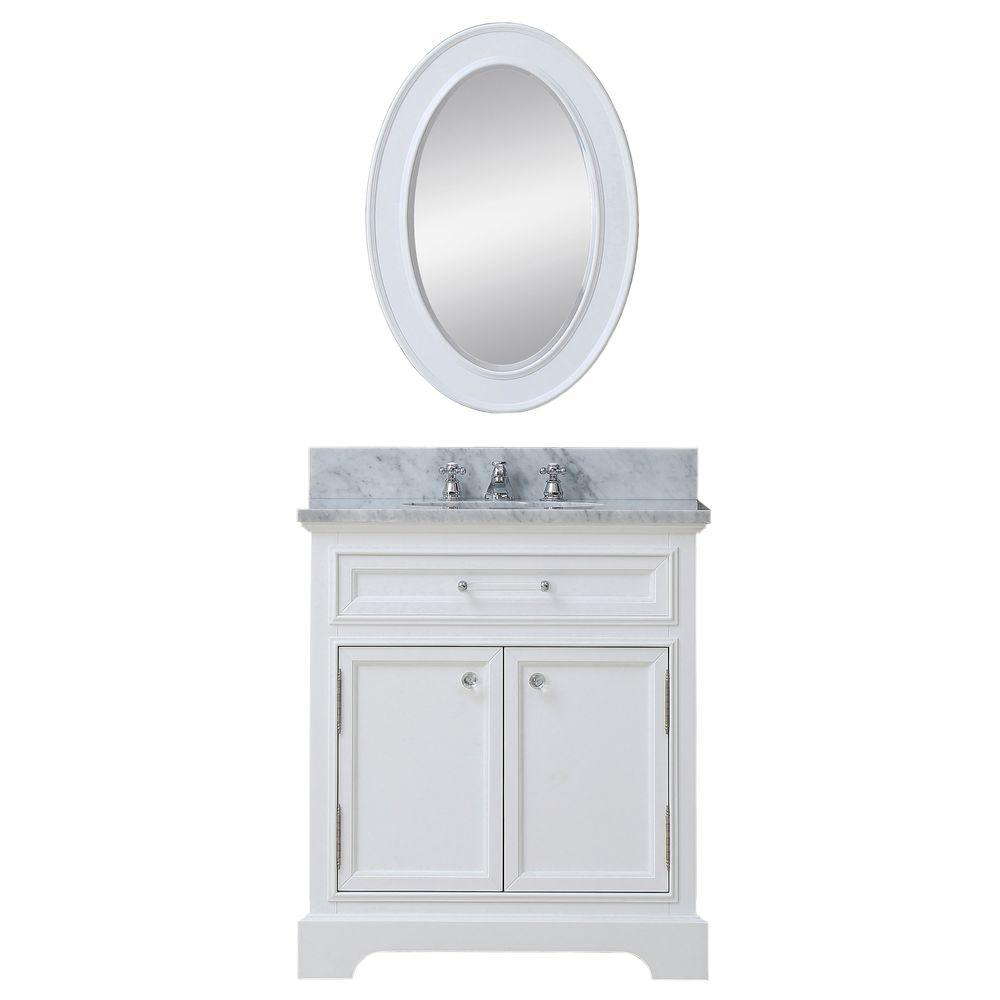 Water Creation 30 in. W x 22 in. D Vanity in White with Marble Vanity Top in Carrara White, Mirror and Chrome Faucet