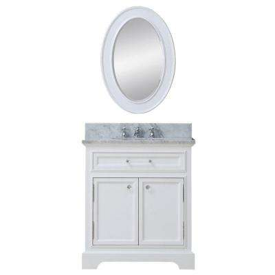 30 in. W x 22 in. D Vanity in White with Marble Vanity Top in Carrara White, Mirror and Chrome Faucet