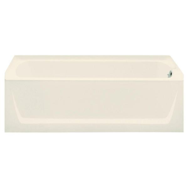 Ensemble 5 ft. Right Drain Rectangular Alcove Soaking Tub in Biscuit
