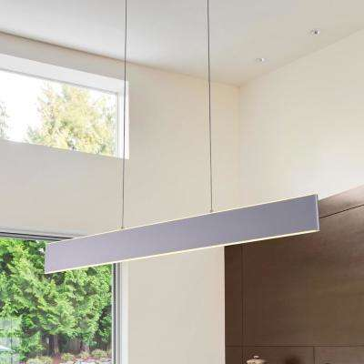Wezen 43-Watt Silver Integrated LED Linear Chandelier