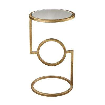 Antique Gold Leaf Mirrored Top Side Table
