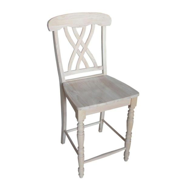 International Concepts 24 in. Unfinished Wood Bar Stool S-3902