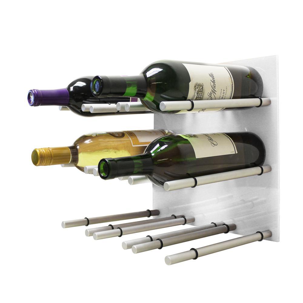9-Bottle White Acrylic Peg Wine Rack