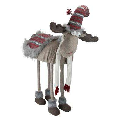 29 in. Winter Ready Bobble Action Nordic Christmas Standing Moose Figure