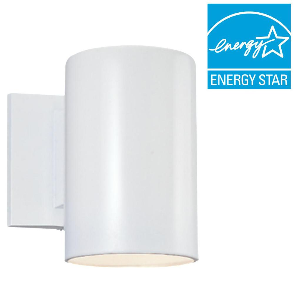 Sea Gull Lighting Bullets Collection 1-Light Outdoor White Wall Cylinder