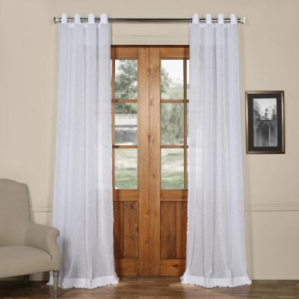 Aspen Grommet Solid Faux Linen Sheer Curtain in White - 50 in. W x 96 in. L
