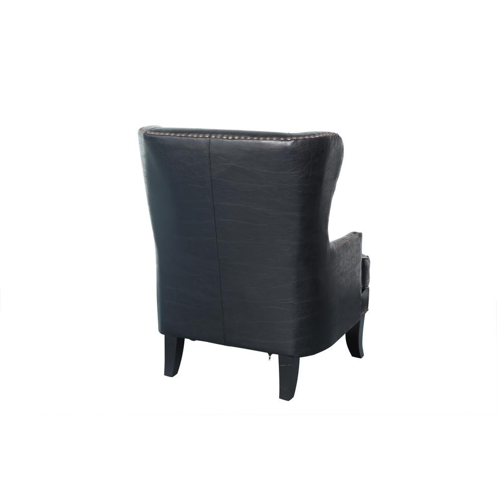 Super Grant Black High Back Wingback Crackle Leather Accent Chair Pabps2019 Chair Design Images Pabps2019Com