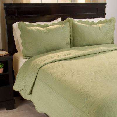 Vera Embroidered Sage Polyester King Quilt