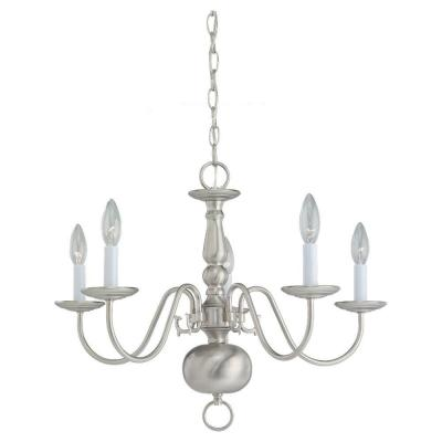 Traditional 5-Light Brushed Nickel 1-Tier Chandelier