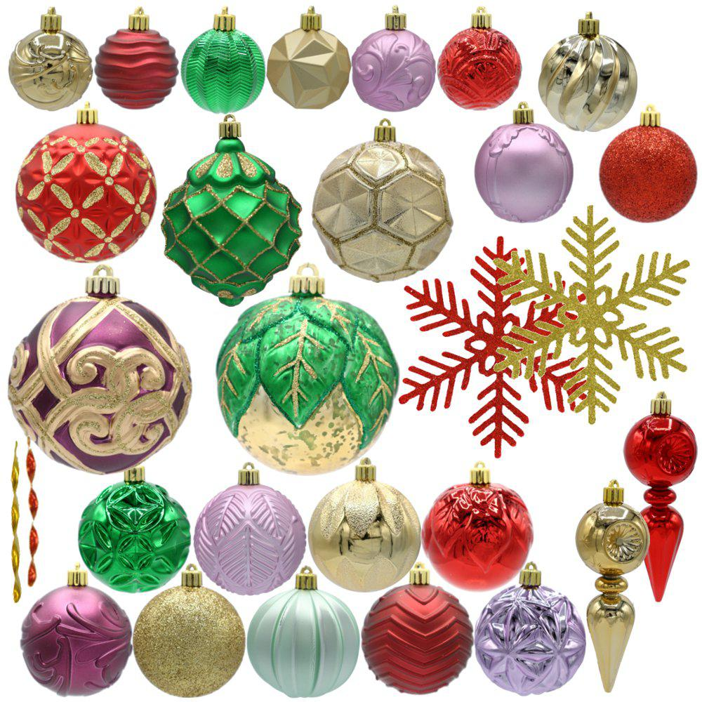 Christmas Ornament Set.Home Accents Holiday Warm Tidings Assorted Ornament Set 75 Count