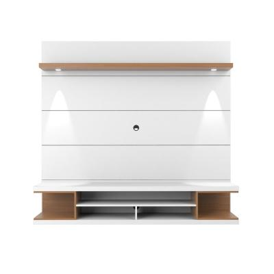 Utopia 70 in. White and Maple Cream Particle Board Floating Entertainment Center Fits TVs Up to 60 in. with Wall Panel
