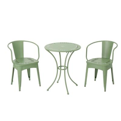 Lourdes Matte Green 3-Piece Metal Outdoor Bistro Set