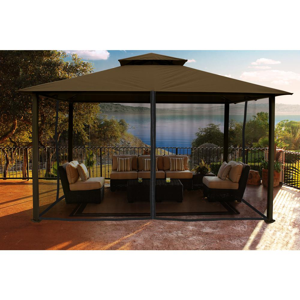 Paragon gazebo 11 ft x 14 ft with cocoa color sunbrella top and mosquito netting