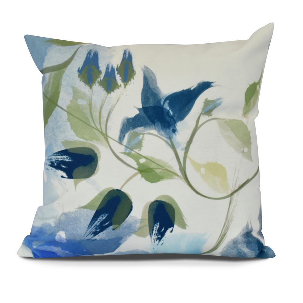 Windy Bloom Floral Print Decorative Pillow